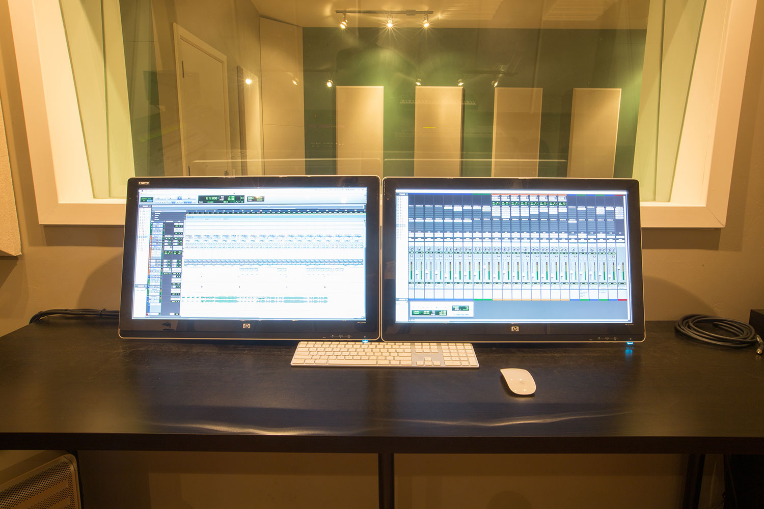 The computer screens at SGM Studio in San Diego